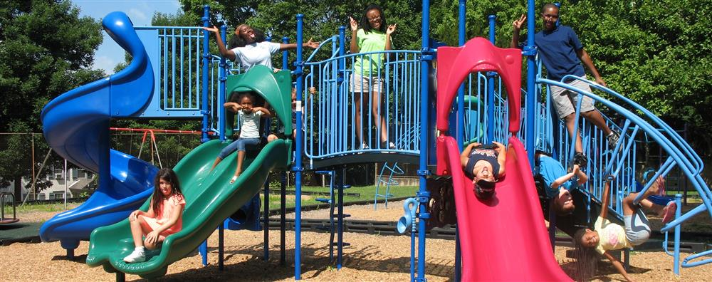 Campers & Consellors pose at the Rowland Community Center Playground